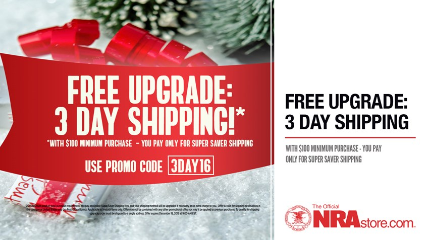 Free Upgrade to 3 Day Shipping at NRAstore