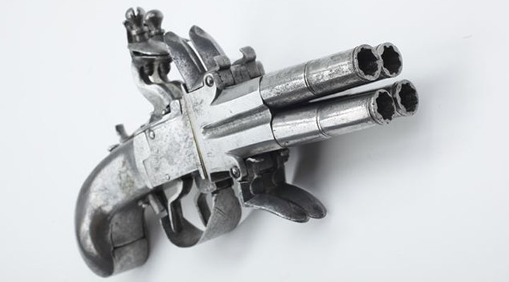 Four-Barrel Flintlock Pistol